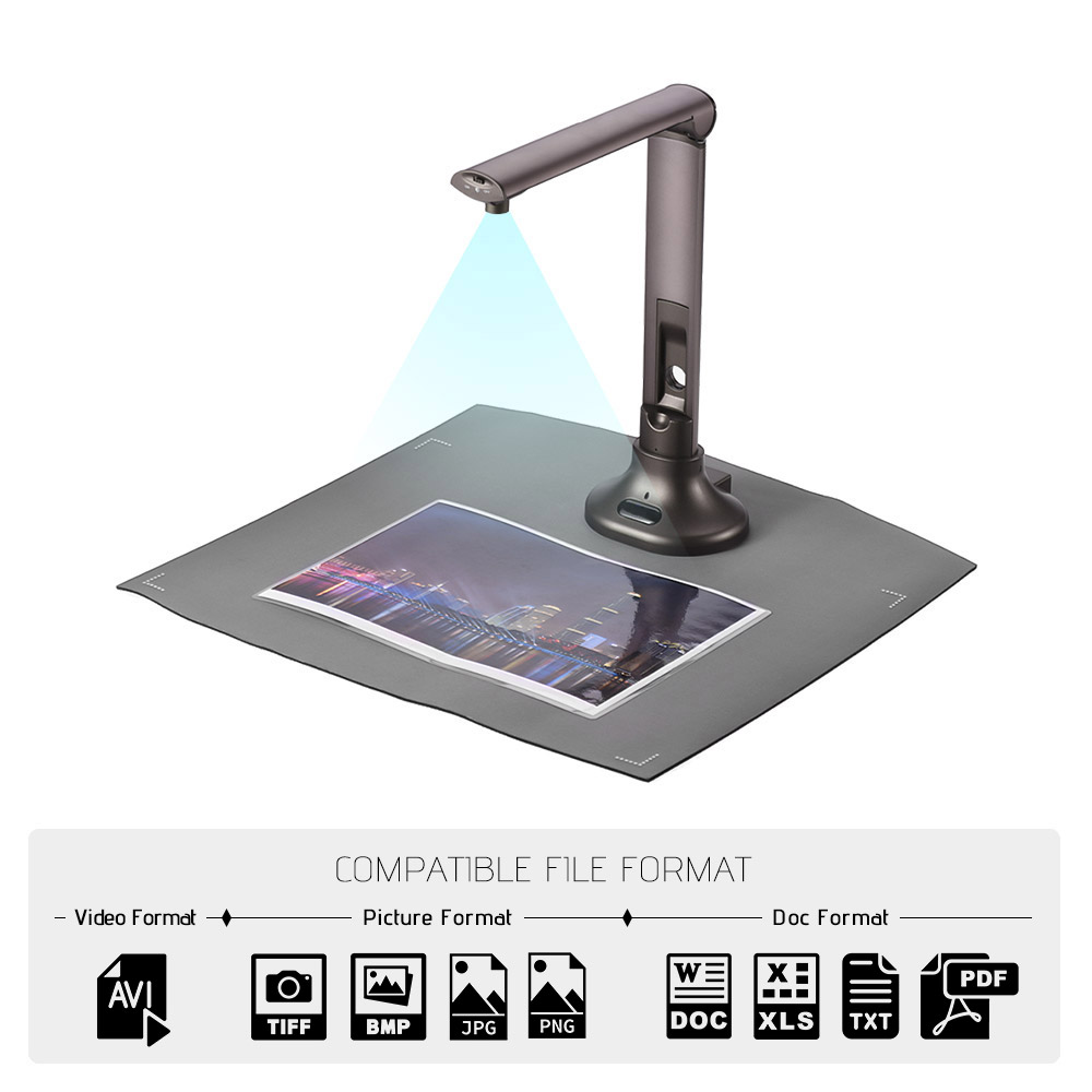 Portable USB Book Image Document Camera Scanner Visual Presenter 5 Mega-pixel HD High-Definition Max. A3 Scanning LED Light OCR portable a3 document scanner adjustable high speed usb book image camera 10 mega pixel hd high definition scanning size a4 a5 a6