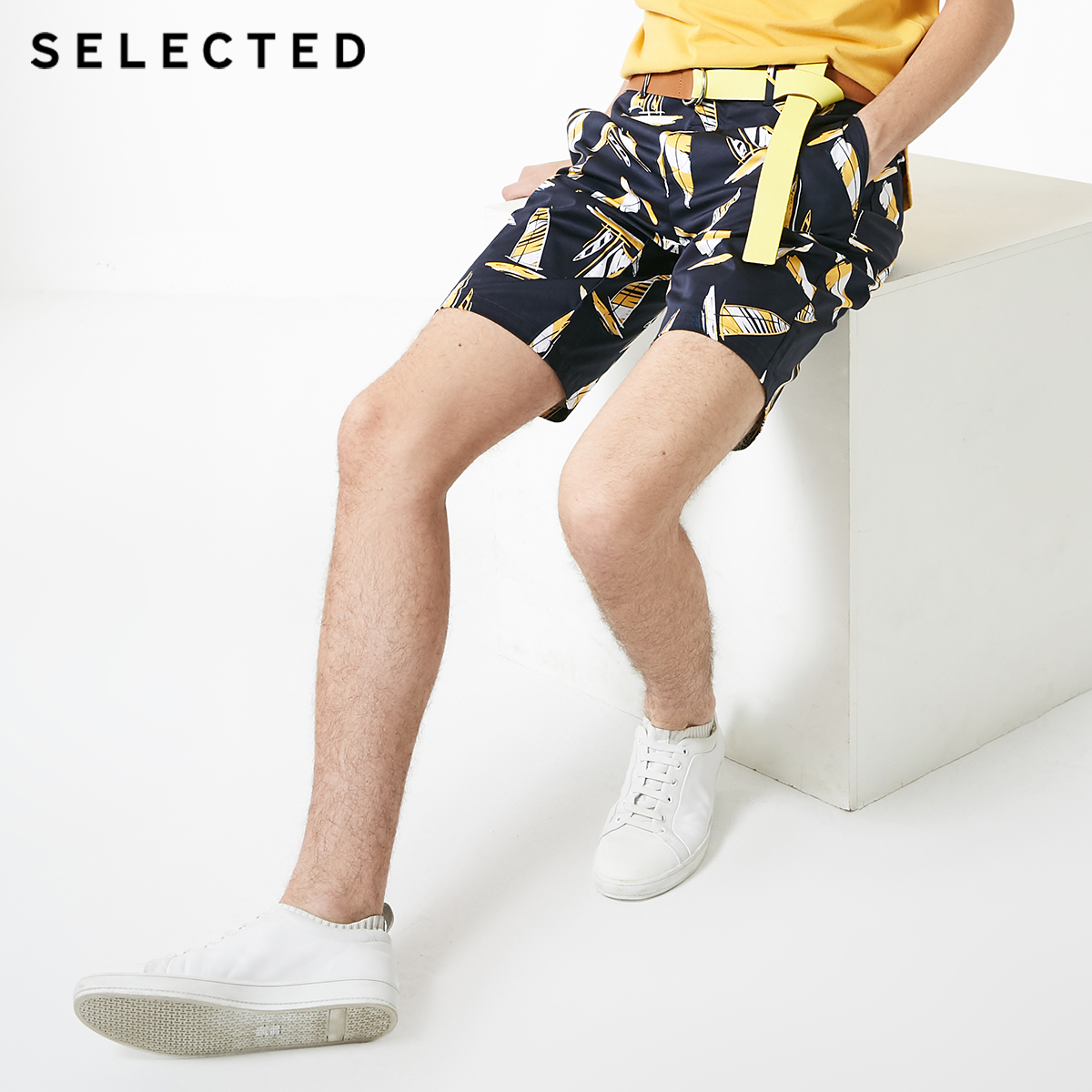 SELECTED Men's Slight Stretch Straight Fit Printed Shorts S 4192SH526