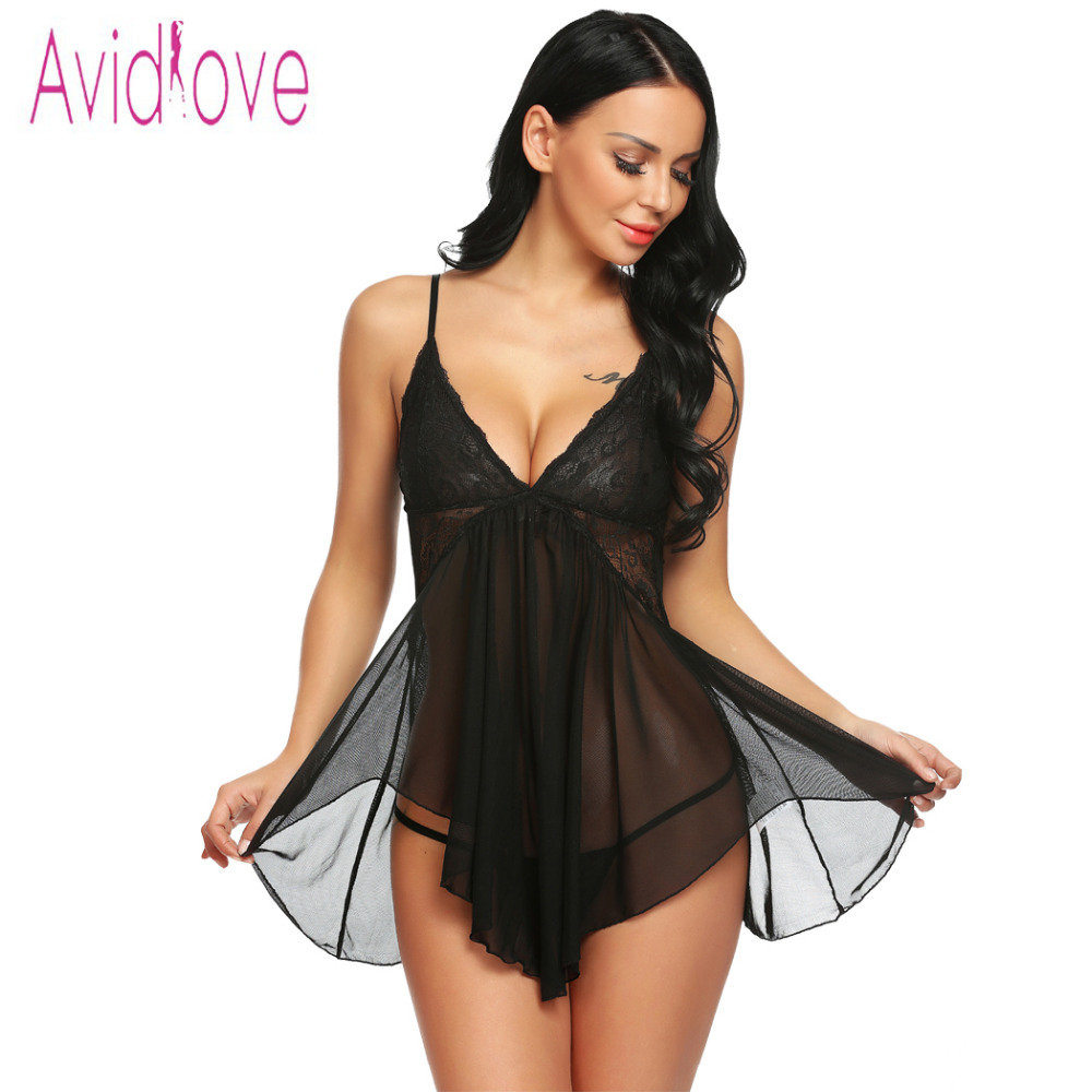 6c8940273a0 Avidlove 2019 Women Sexy Lingerie Hot Erotic Costumes Babydoll Lace  Asymmetrical Babydoll Set with G-