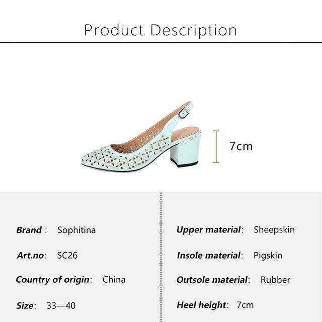SOPHITINA Women s Sandals Career Sheepskin Solid Buckle Strap Fashion High Square Heel Shoes Handmade Back