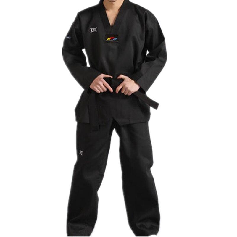 2016 New Adult Male BlackBreathable Cotton Taekwondo Uniform WTF Approved Taekwondo Dobok Free Shipping