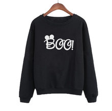 Women Funny Pullvover Crewneck Hoodies White Black Casual Female Tracksuit Cute Cartoon Mouse Boo Sweatshirt Clothing(China)