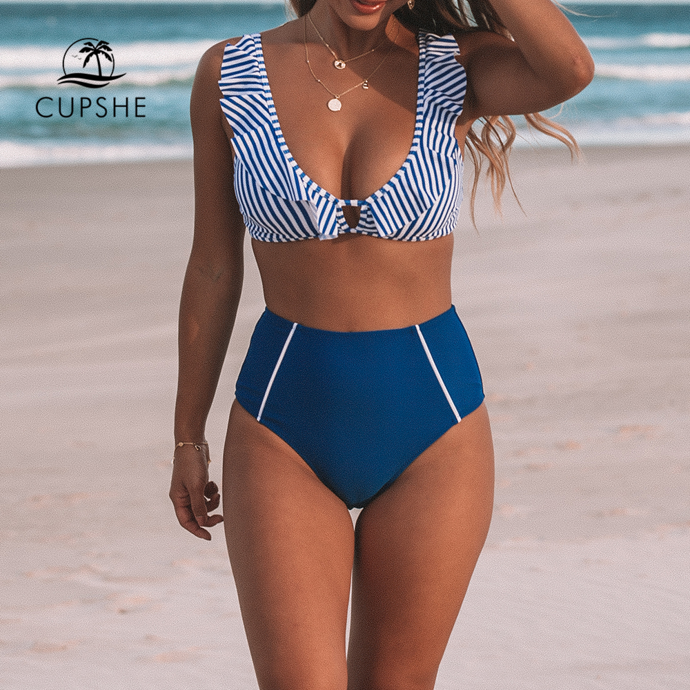 CUPSHE Sexy Blue Striped And High-waisted Ruffles Bikini Sets Women Cute Two Pieces Swimsuits 2020 Girl Beach Bathing Suits
