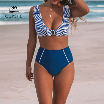 CUPSHE Sexy Blue Striped And High-waisted Ruffles Bikini Sets Women Cute Two Pieces Swimsuits 2020 Girl Beach Bathing Suits 1