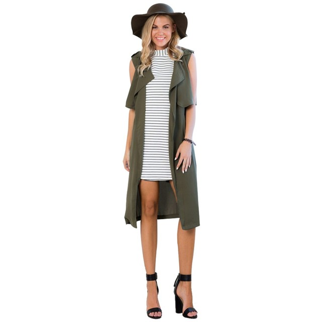 Stylish Ladies Women Casual Green Cardigan Long Vest Jacket Outwear