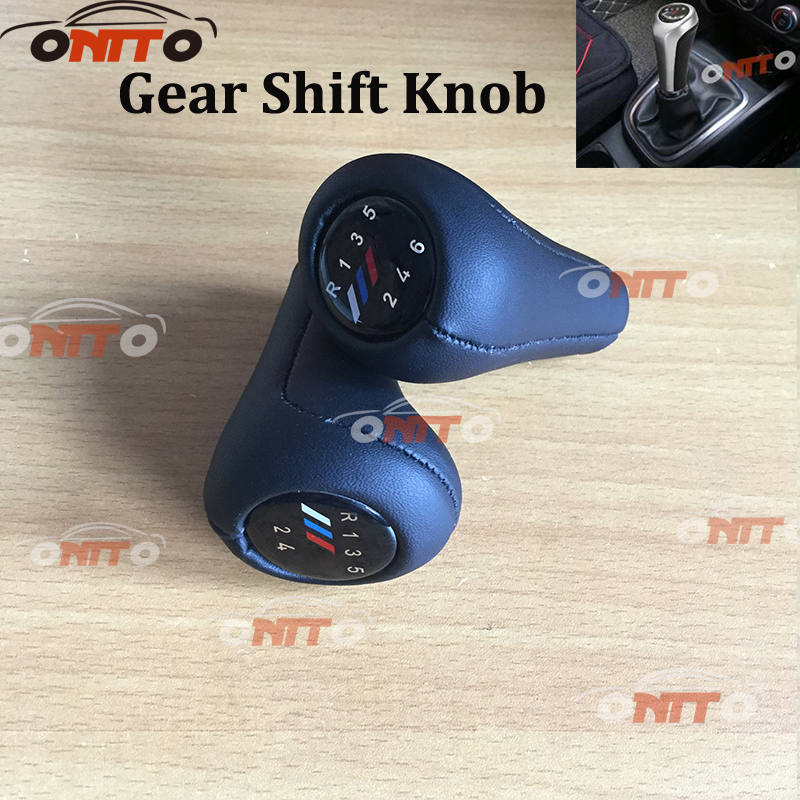 High Quanlity 10pcs/lot Leather Shifter Shift Knob Gear Knob Car covers 5 speed 6 speed Car Gear Shift Collars for bmw