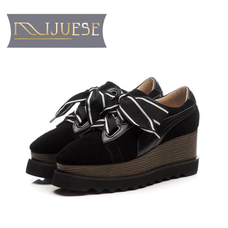 MLJUESE 2018 women flats kid Suede lace up black color platform loafers casual shoes creeper shoes women size 34-42 2018 new arrivals women flats shoes fashion bling women flats platform loafers lace up women casual shoes black
