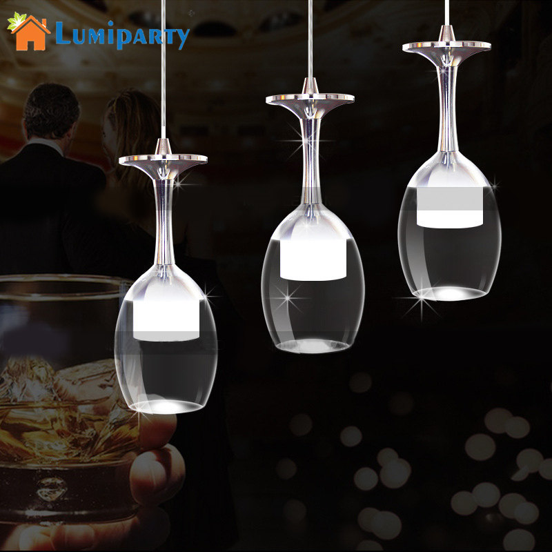 LumiParty New LED Wine Glass Pendant Lamps 3W White/Warm Light Pendant Led Lamps Led Lustre Pendant Lights Coffee Bars Houses