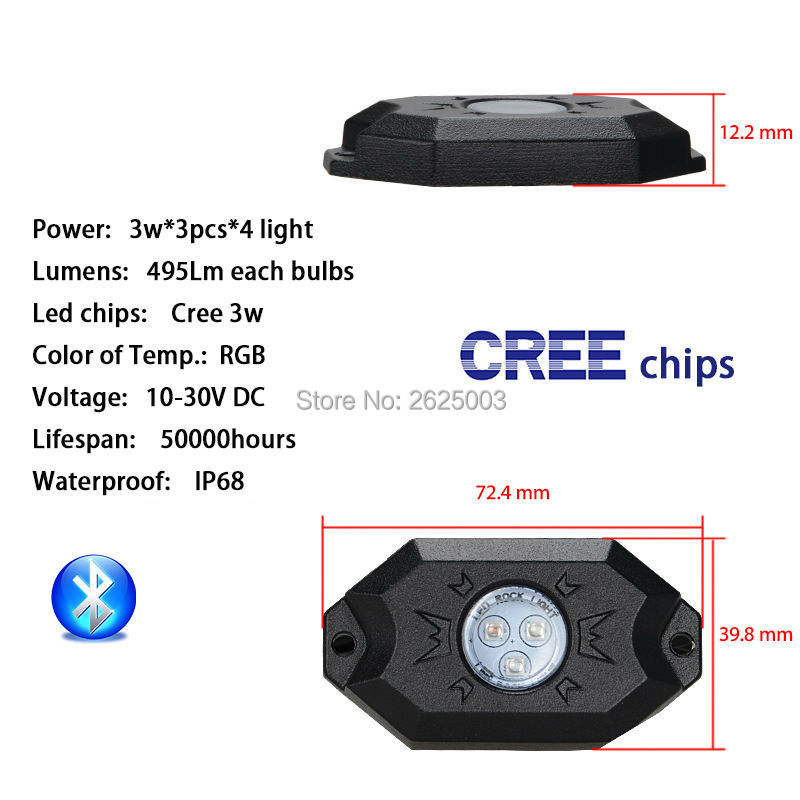 Bluetooth 4 Pods LED RGB Rock Lights Offroad Mini Rock Under Vehicle LED Flush Lights Decorate Lamp for ATV UTV JEEP Mine Boat-in Car Light Assembly from Automobiles & Motorcycles    2