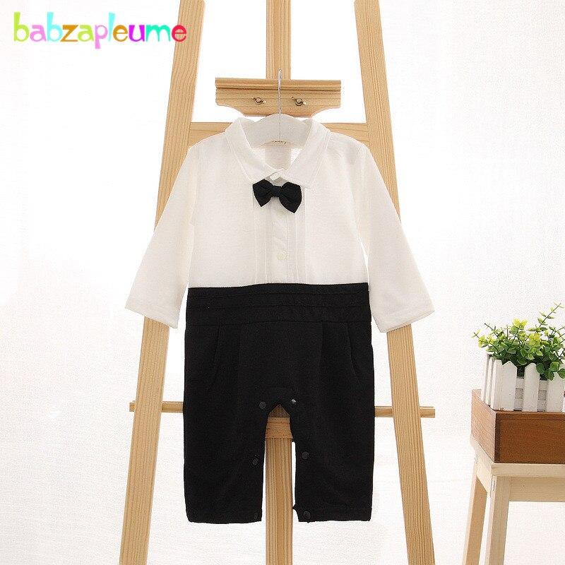 Купить с кэшбэком 2PCS/0-24Months/Spring Autumn Newborn 1st Birthday Baby Boys Clothes Black Jacket+Gentleman Jumpsuit Infant Clothing Sets BC1278