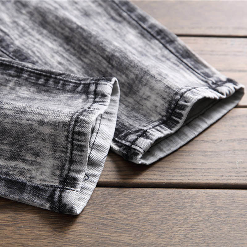 2019 Men Snow Wash Gray Army Camo Patched Jeans Long Pants Fashion ... c1d870ed3