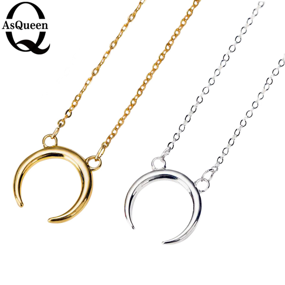 2017 New Gold Silver Simple Crescent Moon Women Necklace Plain ...
