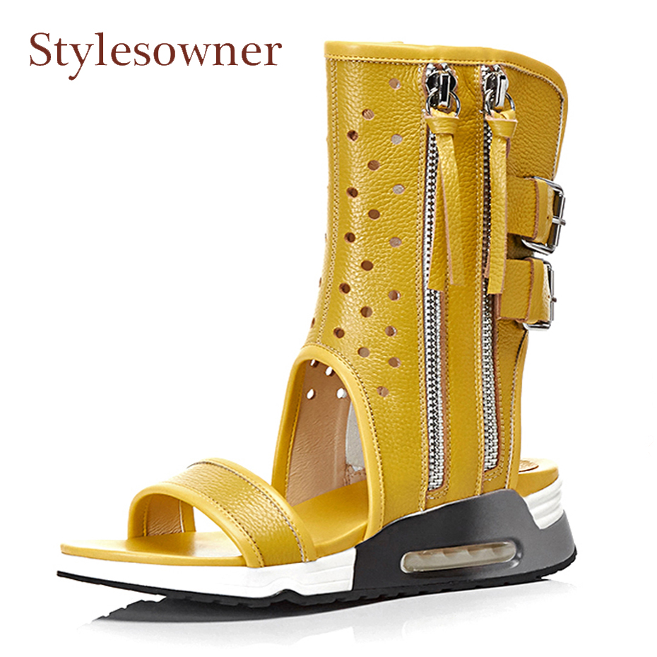 Stylesowner peep toe thick bottom women sandals summer boots yellow white black genuine leather zipper hollow wedge heel shoes new arrival superstar genuine leather chelsea boots women round toe solid thick heel runway model nude zipper mid calf boots l63
