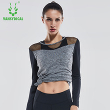 Vansydical Womens Yoga Shirts Long Sleeve Sexy Hollow Fitness Sports T-shirts Running Sportswear Workout Gym Yoga Clothes Tops