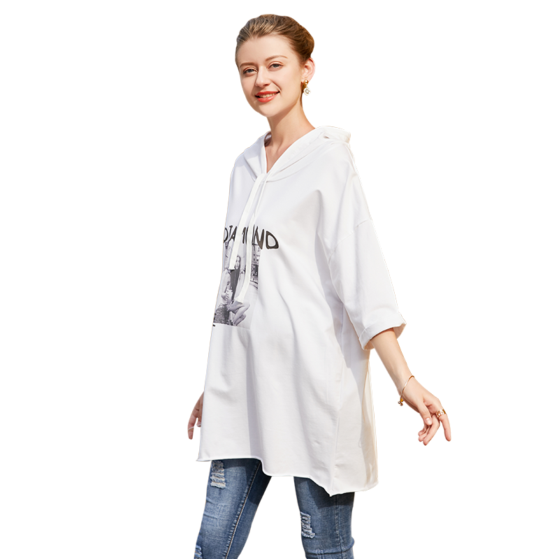 Europe 2018 Summer Pregnant Women Fashion Casual Loose Letter Printing Hooded Dress Maternity 100% Cotton Cartoon White Dresses cntang summer embroidery letter w baseball cap fashion cotton snapback for men women trucker hat unisex casual caps gorras