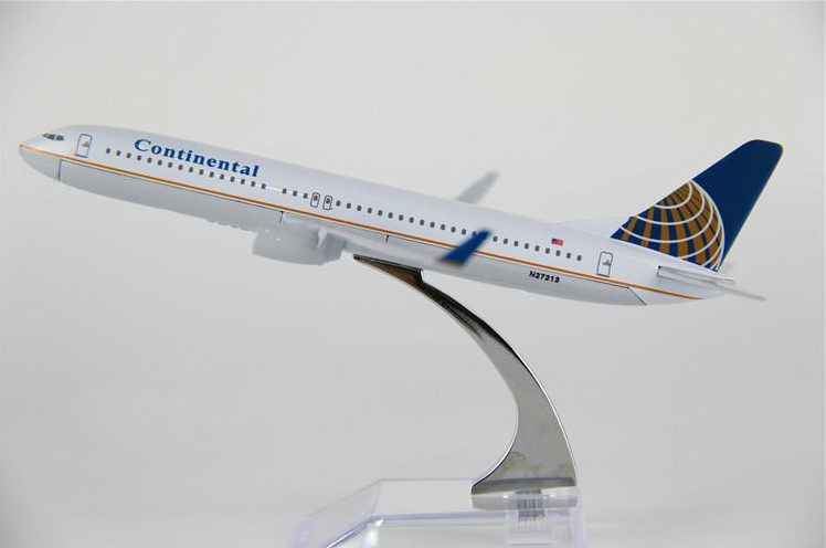 43cm   plane model 737-800 Continental Airlines aircraft  B737 Metal simulation airplane model for kid toys Christmas gift
