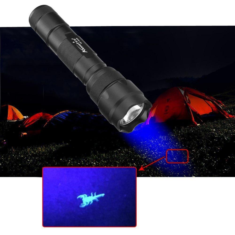 AloneFire 502B LED UV Flashlight Purple Violet 395nm Light Focus Light Lamp Uesd By 18650 Battery