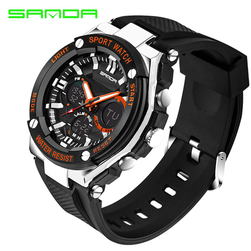 SANDA Watches Men Water Resistance 30m Luxury Brand Digital Military Multi Function Silicone Sports Watches For Boys Male Clock