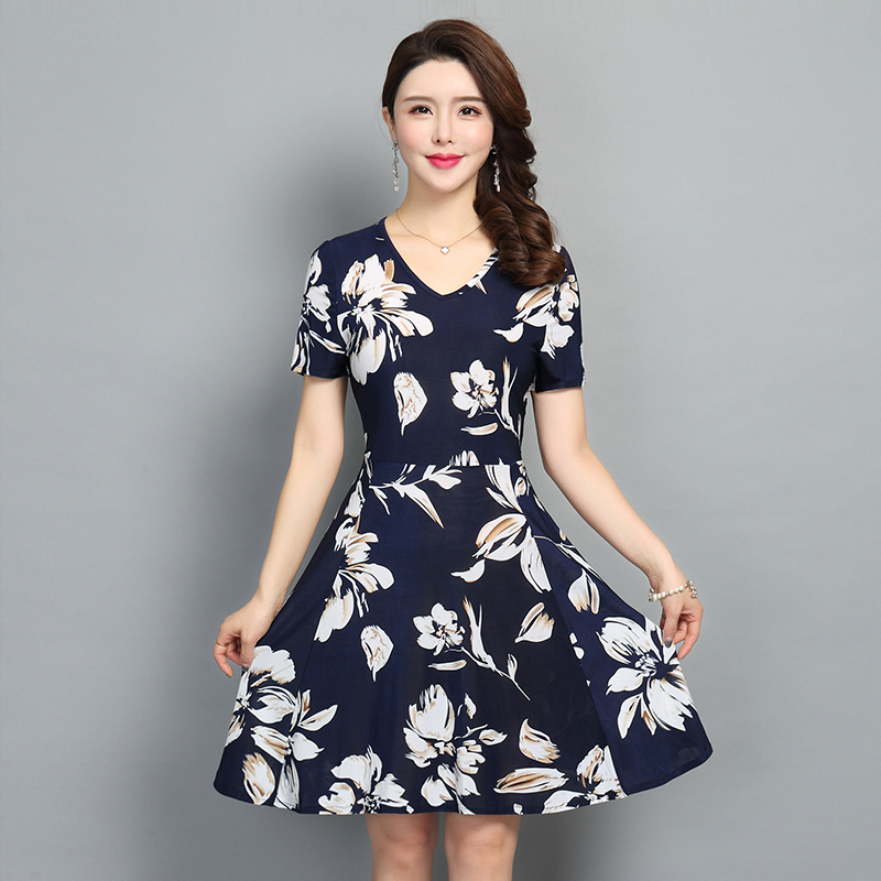 2019 Fashion Bohemian Style Clothes Women Floral Print Short Sleeve V Neck Slim Casual Sundress Plus Size S-5XL Beach Dress