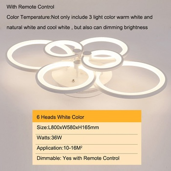 Double Glow Modern led chandelier for living room bedroom study room remote controller dimmable ceiling chandelier AC90-260V 7