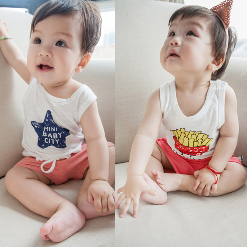 Newborn Baby Summer Vest Boys Cute Twins Tshirts Girls T-shirts Sleeveless Cotton Tees Kids Comfy Tops Baby Raglan Child Clothes