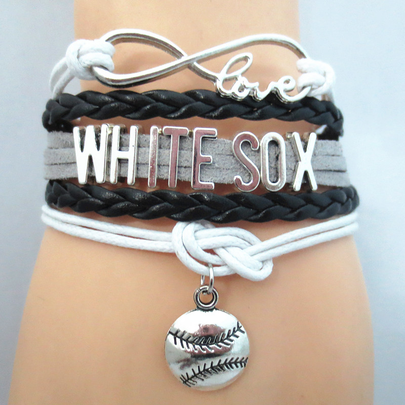 Infinity Love WHITE SOX baseball Sports Team Bracelet Sports wish friendship Bracelets B09341