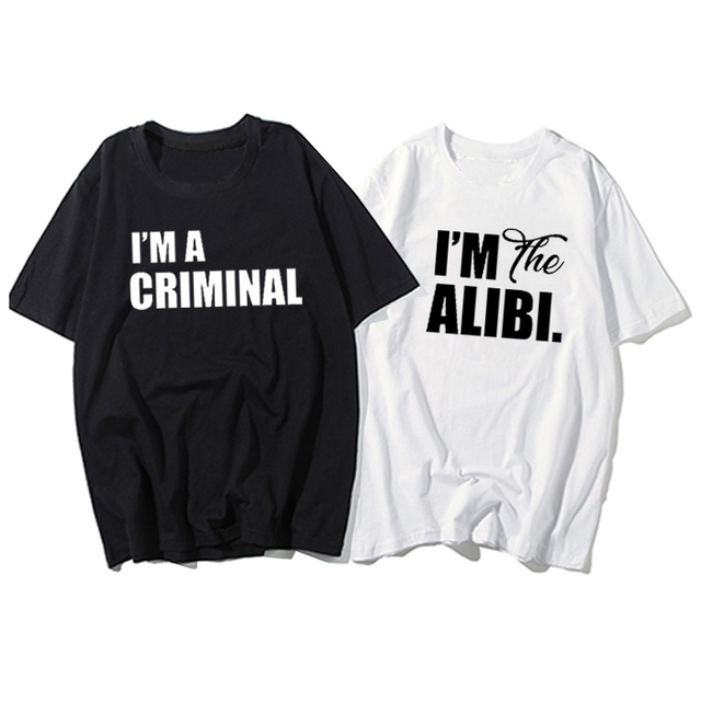Letter Printed Couple T-Shirt