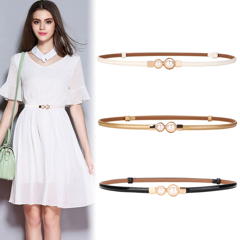 Fashion Brand Genuine Leather Lady Waistbands Gold Metal Hasp Pearl Buckle Red Patent Leather Belts For Women Thin Belt Dress