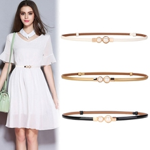 Fashion Brand Genuine Leather lady waistbands gold Metal Has