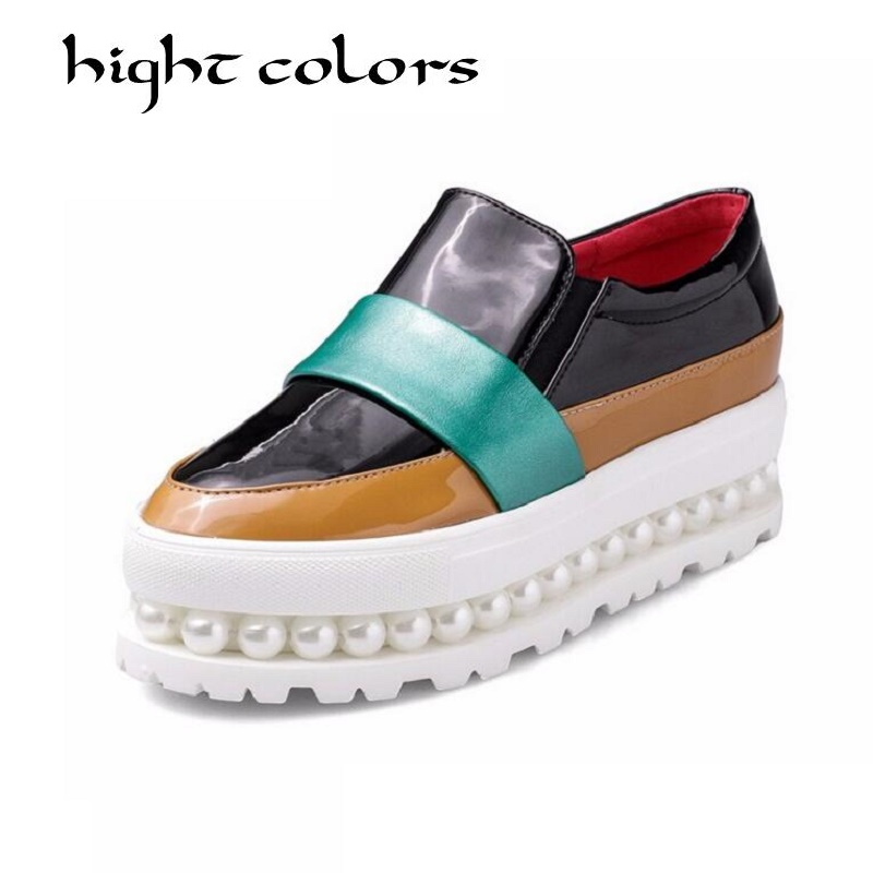 Ladies Casual String Bead Flat Shoes Women Loafers Fashion Color Block Patent Deep Mouth Slip-on Women Platform Shoes Size 34-43 fashion tassels ornament leopard pattern flat shoes loafers shoes black leopard pair size 38