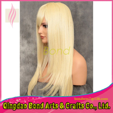 Cheap Brazilian Blonde color Lace Front Wigs Glueless Silky Straight #613 Full Lace Human Hair Wigs with bangs