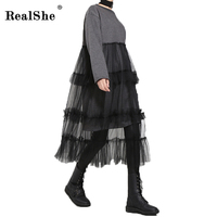 RealShe 2017 Women Winter Sweatshirt Dress Big Size Elegant Patchwork Mesh Dress Loose Long Sleeve Women