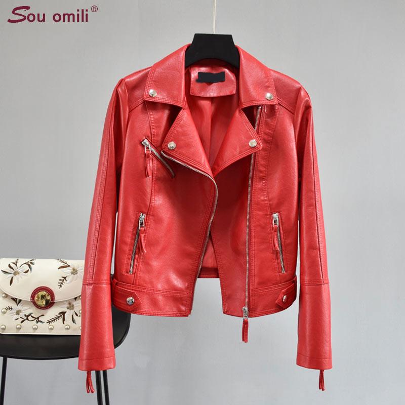 2019 Fall RED/Black Leather Jacket Women Faux Leather Coats For Women Chaqueta Blazer Jack Leren Jas Blouson Cuir Femme