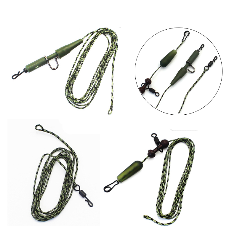 2Pcs Carp Fishing Leadcore Ready Tied Braided Line Helicop Quick Change Swivels Snap Lead Clips Fishing Link Hair Rigs Lead Wire