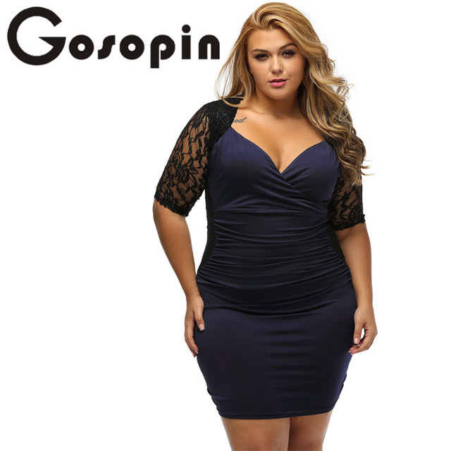 fd9ead6ea24bd Gosopin Fashion Big Woman Sexy Black Blue Lace Dress Summer Plus Size Dress  Vestido De Renda New V Neck Bodycon Dress LC61318