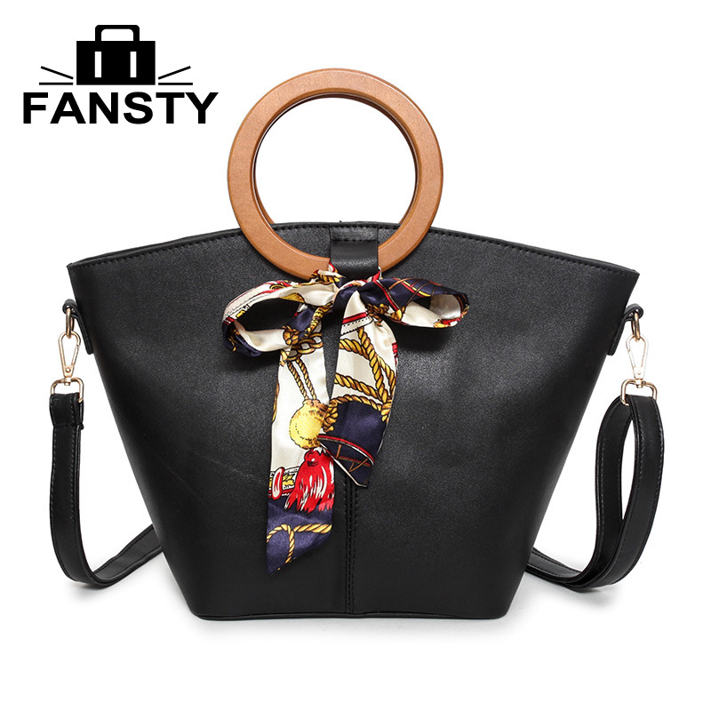 2017 Pu Leather Handbags for Women Ring Handle NEW Design Large Bag Ladies Scarf Shoulder Bags Basket Party Bucket Shopping Tote