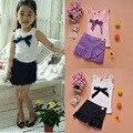2016 новорожденных девочек комплектов одежды лето цветок хлопка жилет + юбка шорты детская одежда детская одежда костюм