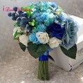 2017 Новый Дизайн Синий Сочные Растения Свадебный Букет для Невесты Ручной Работы букет де mariage Бесплатная Доставка
