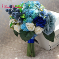2017 New Design Blue Succulent Plants Wedding Bouquet for Bride Handmade bouquet de mariage Free Shipping