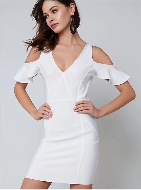Delle 2018 Vestiti Di Fasciatura Donne Qualità Con Nuovo Scollo All'ingrosso Del Partito Manica Dalla Corta Celebrità V Alta A Bianco Arrivo Vestito Elegante 44rUI
