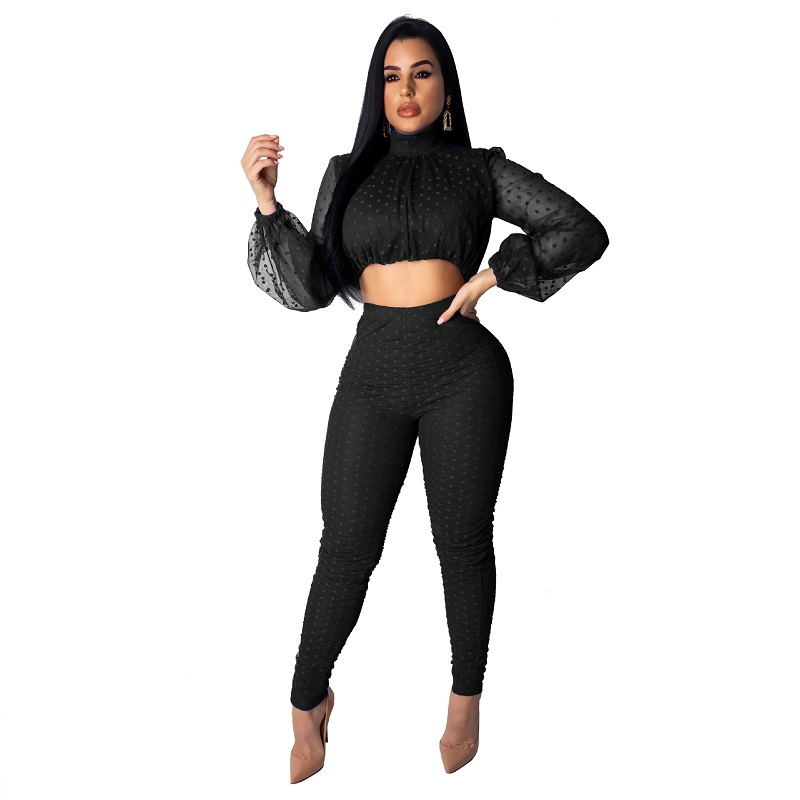 summer-outfits-for-women-two-piece-set-top-and-pants-2019-sets-women-zipper-up-lace-hollow-out-perspective-mesh-lantern-sleeve