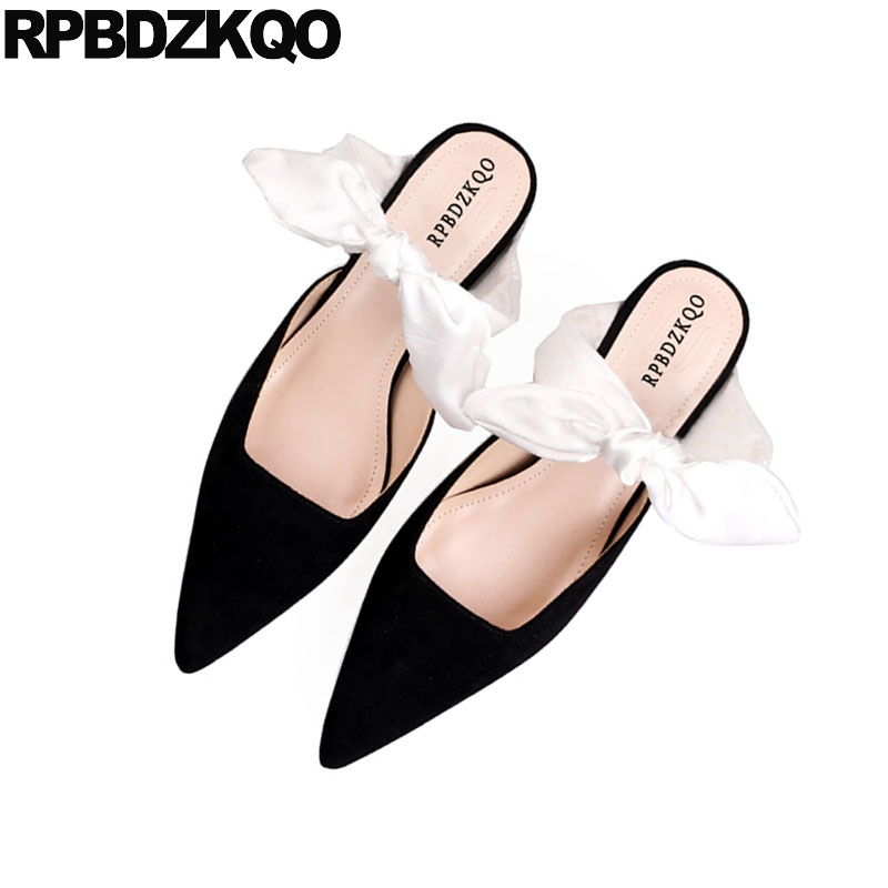 Sweet 2018 Women Thin Strap Black Pointed Toe Cute Ladies Kitten Heels Shoes Suede Mules Slipper Closed Sandals Bow Low Pumps bow size 33 cute 2018 3 inch pumps korean medium heels pointed toe 4 34 thin kawaii sweet kitten nude blue suede shoes women