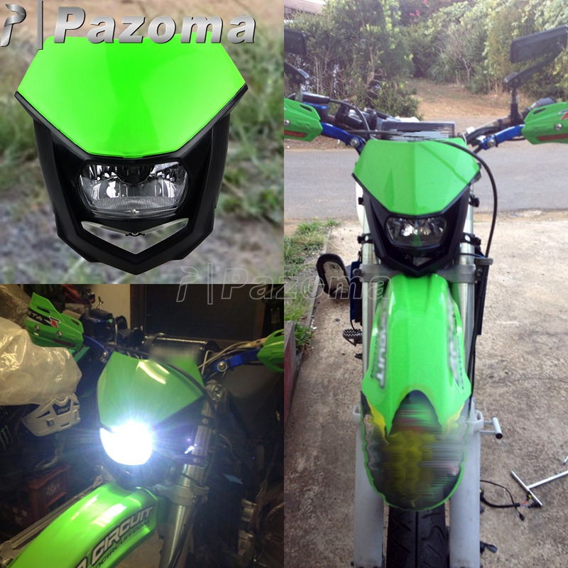 For Kawasaki KX KLX KLR KLE ZZR KDX 110 250 Enduro Streetfighter Green H4 12V Headlights Headlamp Dirt Bike Motocross Head Light