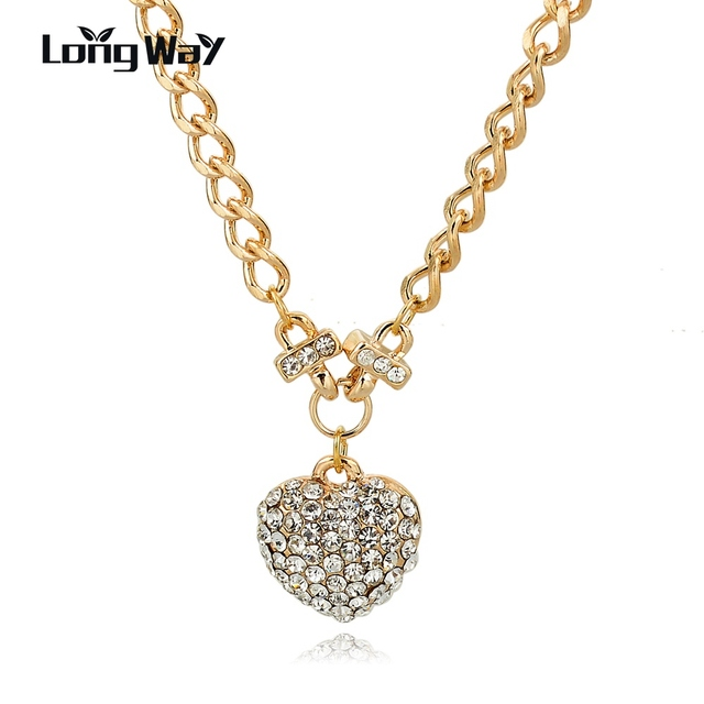 LongWay Love Crystal Heart Necklace For Women Gold Color Chain Female Heart  Pendant Necklace Colar Vintage Bijoux Sne160129