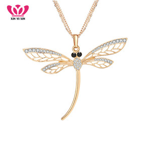 Crystal Dragonfly Pendant Necklace Rose Gold Silver Color Fashion Long Sweater Collier pendentif Elegant Women Jewelry Best Gift