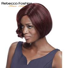 Rebecca Human Hair Wigs Brazilian Short Bob Wigs Human Hair 99J Cheap Remy Short Human Hair Wigs For Black Women Fashion wigs(China)