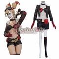 DC Comic Новый 52 Harley Quinn Синий и Красный Косплей Костюм Взрослых Женщин Сексуальный Хэллоуин Наряд На Заказ