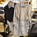 Nuevo 2016 Otoño Mosaico de Punto Falso de Dos Piezas Blusa de Las Mujeres Camisa Femenina Rayas de Un Solo Pecho Blusas Camisa Tops