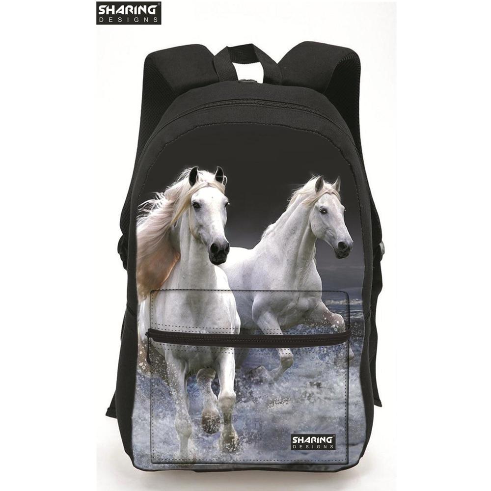 Large Capacity 3D Horse Print Laptop Backpack Cool Children Animal School Bags For Girls Boys Bagpack Bolsas Mochilas Femininas twoheartsgirl cool neon animal leopard tiger head backpack for teenager boys girls unisex children school backpack kids bagpack
