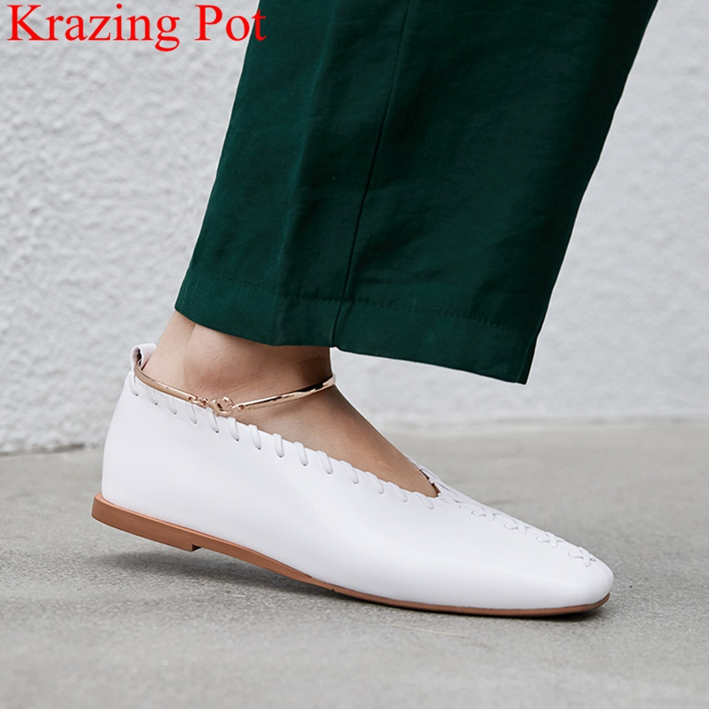 Krazing Pot 2019 Cow Leather Metal Decoration Square Toe Shallow Women Flats Ankle Strap Office Lady Spring Driving Shoes L12